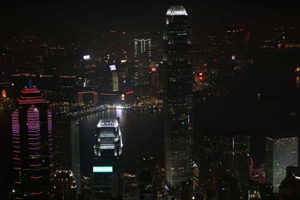 The view from Victoria Peak at night.