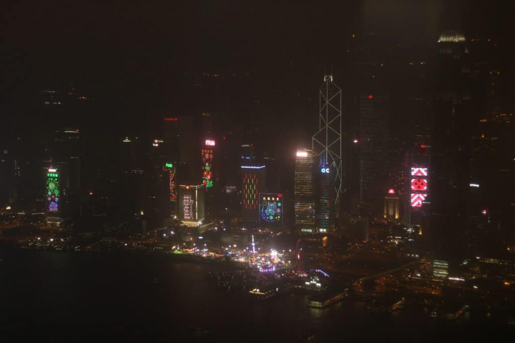 The view of Victoria Harbor from the Sky100.